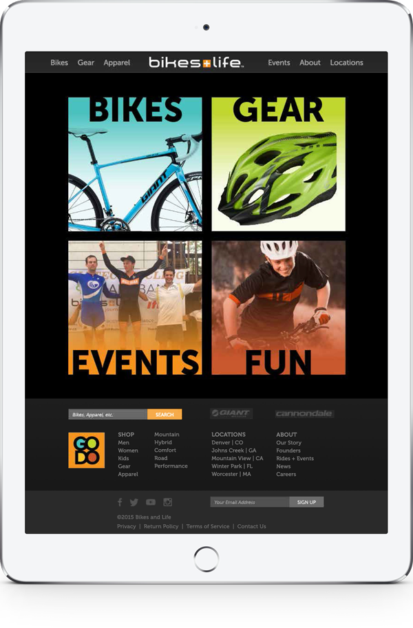 Bikes+Life website tablet