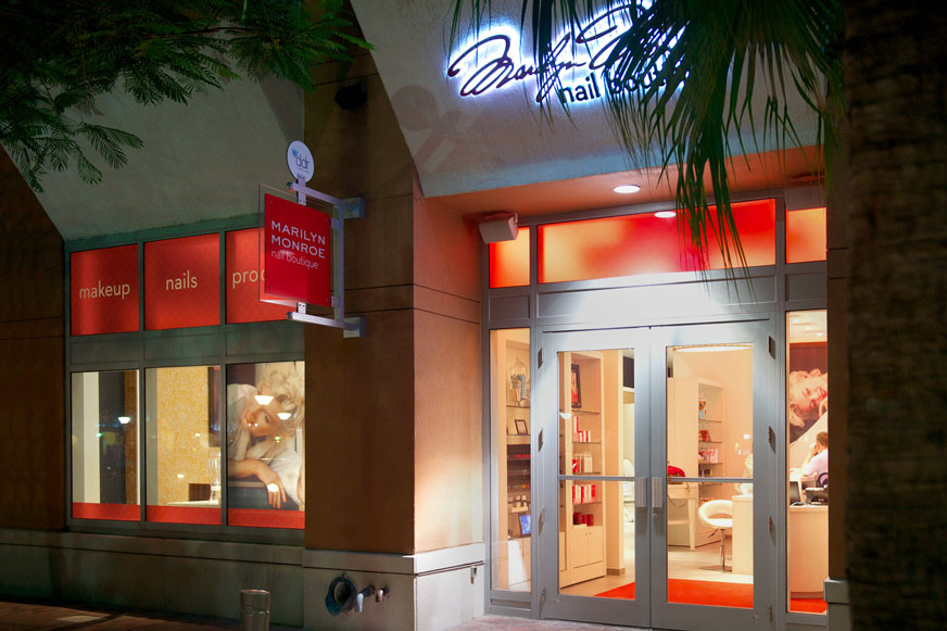 Marilyn Monroe Spas Miami nail boutique signage